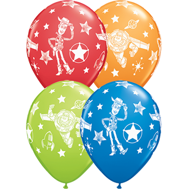 Disney Pixar Toy Story Stars Standard Dark Blue, Standard Red, Standard Orange and Fashion Lime Green Assortment Latex Round 11in/27.5cm