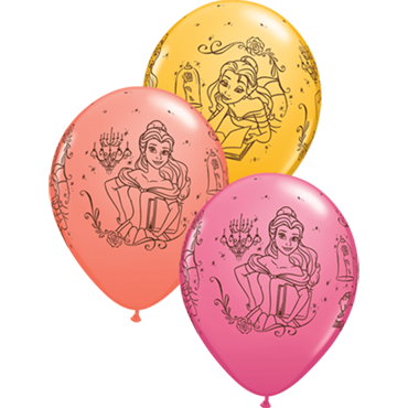 Disney Princess Belle Fashion Coral, Fashion Goldenrod and Fashion Rose Assortment Latex Round 11in/27.5cm