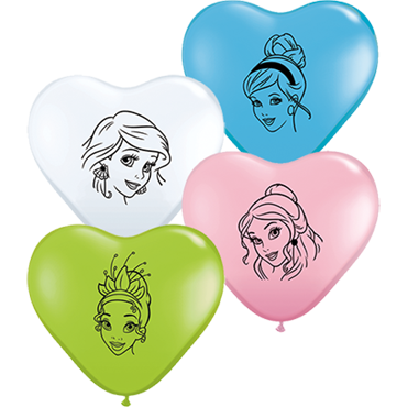 Disney Princess Faces Standard Pink, Standard Pale Blue, Fashion Lime Green and Standard White Assortment Latex Heart 6in/15cm
