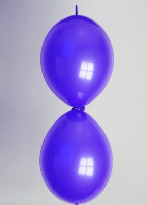 Doorknoopballon 25cm kristal marineblauw
