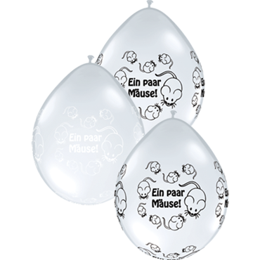 Ein Paar Mäuse! Crystal Diamond Clear (Transparent) w/White Ink and Crystal Diamond Clear (Transparent) w/Onyx Black Ink Assortment Neck Up Latex Round 5in/12.5cm