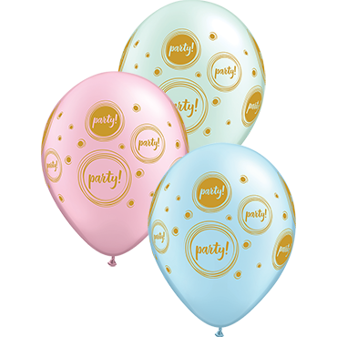 Elegant Party Pearl Light Blue, Pearl Mint Green and Pearl Pink Assortment Latex Round 11in/27.5cm