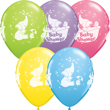 Elephant Baby Shower Standard Pale Blue, Standard Yellow, Fashion Rose, Fashion Spring Lilac and Fashion Lime Green Assortment Latex Round 11in/27.5cm