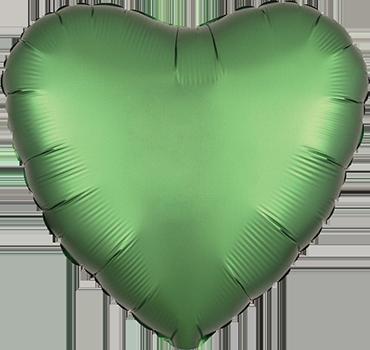 Emerald Satin Luxe Foil Heart 17in/43cm
