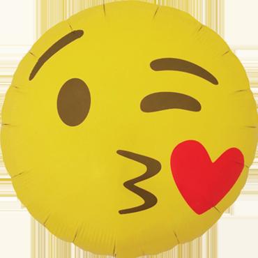 Emoji Kissing Heart Foil Round 18in/45cm