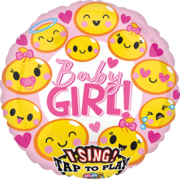 Emoticon Baby Girl Sing A Tune Foil Round 28in/71cm
