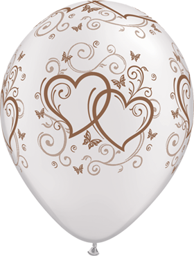 Entwined Hearts and Butterflies Pearl White w/Rose Gold Ink Latex Round 11in/27.5cm