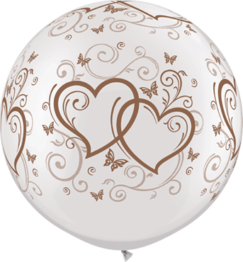 Entwined Hearts and Butterflies Pearl White w/Rose Gold Ink Latex Round 30in/75c