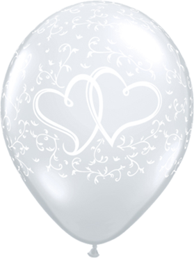 Entwined Hearts Crystal Diamond Clear (Transparent) Latex Round 11in/27.5cm
