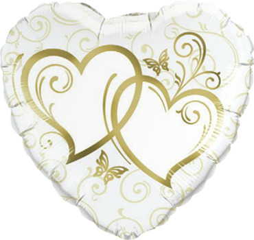 Entwined Hearts Gold Foil Heart 18in/45cm