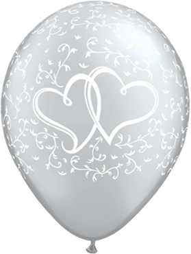 Entwined Hearts Metallic Silver Latex Round 11in/27.5cm