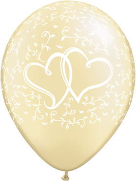 Entwined Hearts Pearl Ivory Latex Round 11in/27.5cm