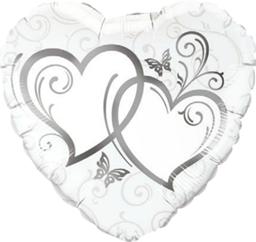 Entwined Hearts Silver Foil Heart 36in/90cm