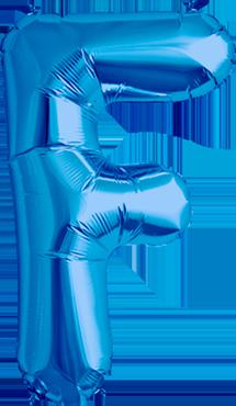 F Blue Foil Letter 16in/40cm