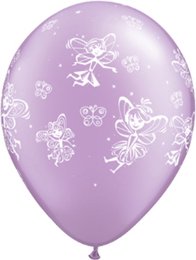 Fairies and Butterflies Pearl Lavender Latex Round 11in/27.5cm