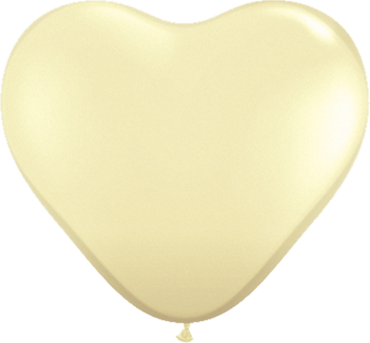Fashion Ivory Silk Latex Heart 6in/15cm