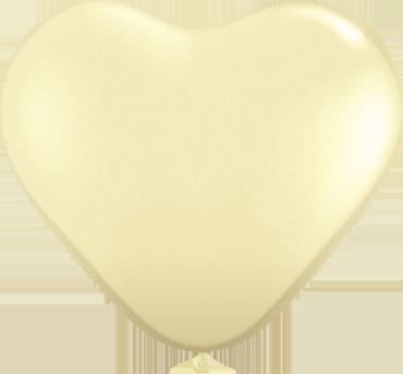 Fashion Ivory Silk Latex Heart 6in/15cm