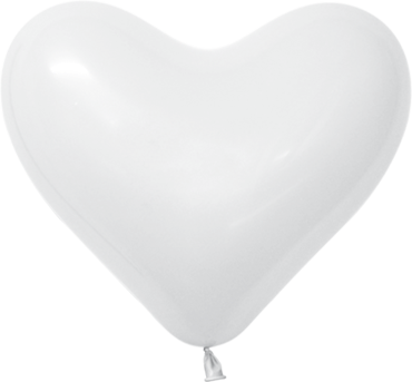 Fashion White Latex Heart 11in/27.5cm