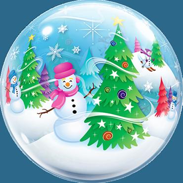 Festive Trees and Snowmen Single Bubble 22in/55cm