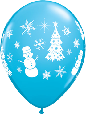 Festive Winter Scene Fashion Robins Egg Blue Latex Round 11in/27.5cm