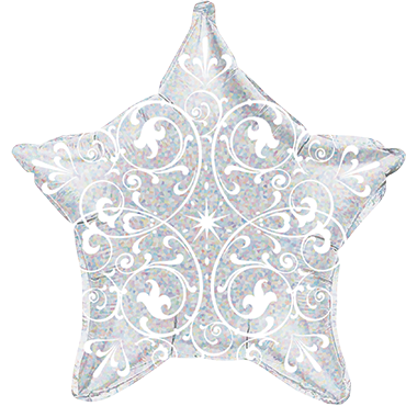 Filigree Holographic Silver Foil Star 21in/53cm