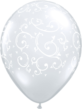 Filligree and Hearts Crystal Diamond Clear (Transparent) Latex Round 5in/12.5cm