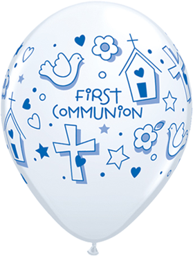First Communion Symbols - Boy Standard White Latex Round 11in/27.5cm