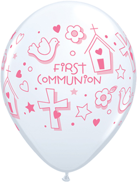 First Communion Symbols - Girl Standard White Latex Round 11in/27.5cm