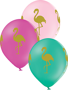 Flamingo Pastel Forest Green, Pastel Rose and Pastel Pink Assortment Latex Round 12in/30cm