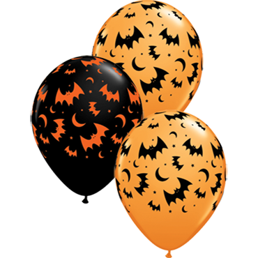 Flying Bats and Moons Standard Orange and Fashion Onyx Black Assortment Latex Round 11in/27.5cm
