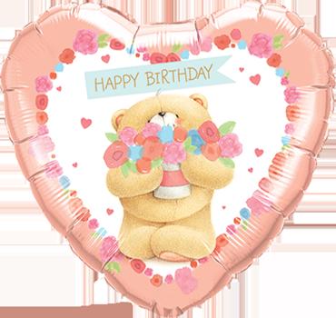 Forever Friends - Birthday Bear Foil Heart 18in/45cm