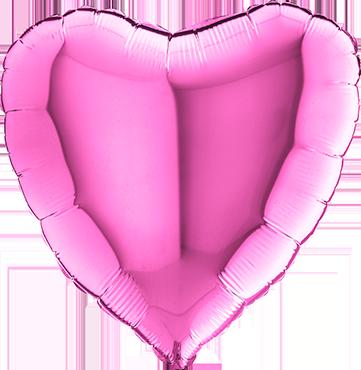 Fuchsia Foil Heart 18in/45cm
