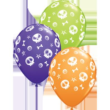 Fun Skulls and Eyeballs Standard Orange, Fashion Purple Violet and Fashion Lime Green Assortment Latex Round 11in/27.5cm
