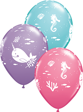 Fun Under The Sea Fashion Spring Lilac, Fashion Rose and Fashion Caribbean Blue Assortment Latex Round 11in/27.5cm