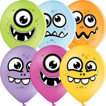 Funny Monsters Pastel Apple Green, Pastel Bright Yellow, Pastel Orange, Pastel Rose, Pastel Lavender and Pastel Sky Blue Assortment Latex Round 12in/30cm