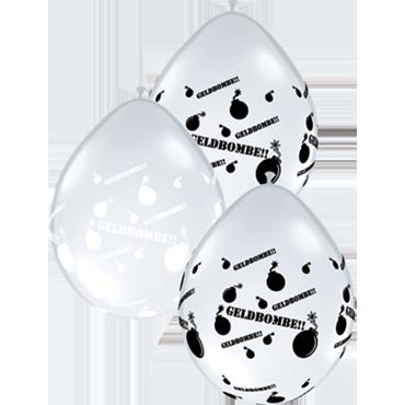 Geldbombe!! Crystal Diamond Clear (Transparent) w/White Ink and Crystal Diamond Clear (Transparent) w/Onyx Black Ink Assortment Neck Up Latex Round 5in/12.5cm