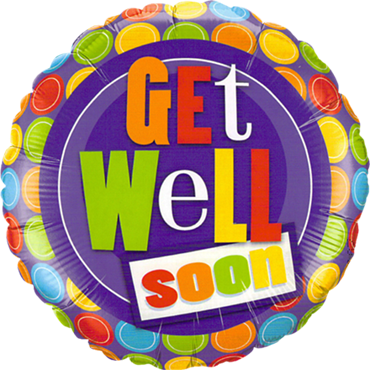 Get Well Dot Patterns Foil Round 9in/22.5cm
