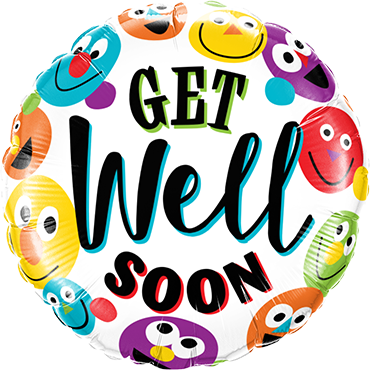Get Well Soon Smileys Foil Round 18in/45cm