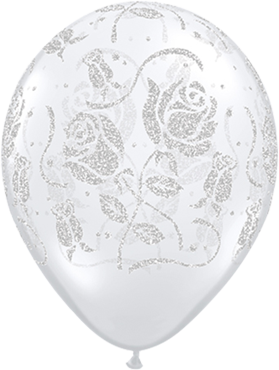 Glitter Roses Crystal Diamond Clear (Transparent) Latex Round 11in/27.5cm