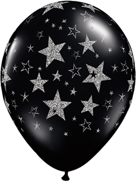 Glitter Stars and Stars Fashion Onyx Black Latex Round 11in/27.5cm