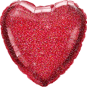 Glittergraphic Red Foil Heart 18in/45cm