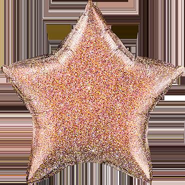 Glittergraphic Rose Gold Foil Star 20in/50cm