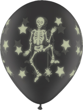Glow Skeletons Crystal Diamond Clear (Transparent) Latex Round 11in/27.5cm