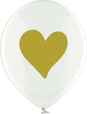 Gold Hearts Crystal Clear (Transparent) Latex Round 12in/30cm