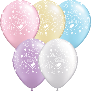 Grod g'heirat! Pearl Ivory, Pearl Lavender, Pearl Pink, Pearl Light Blue and Pearl White Assortment Latex Round 11in/27.5cm