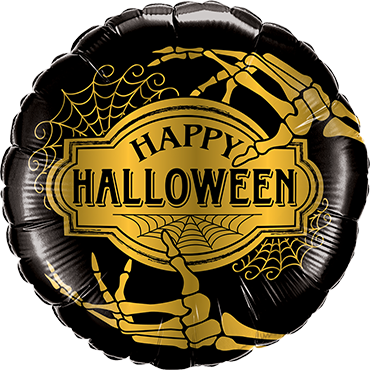 Halloween Golden Skeleton Foil Round 18in/45cm