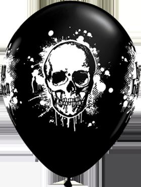 Halloween Haunted Skull Fashion Onyx Black Latex Round 11in/27.5cm