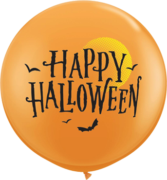 Halloween Moon and Bats Standard Orange Latex Round 36in/90cm
