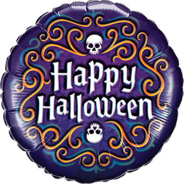 Halloween Skeleton Filigree Foil Round 18in/45cm