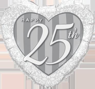 Happy 25th Damask Heart Foil Heart 18in/45cm